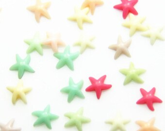 24pcs of tiny star resin cabochon 9mm-0894 mix color