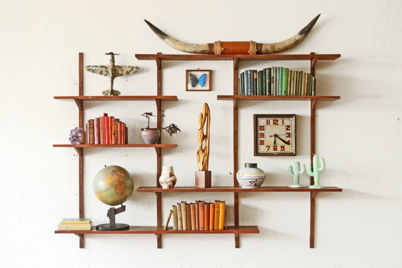 large mid century shelving wall unit walnut. Black Bedroom Furniture Sets. Home Design Ideas