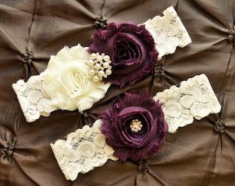 Garter Wedding, Garter Bridal - Ivory Lace Garter, Keepsake Garter, Toss Garter, Shabby Chiffon Rosette Ivory Plum Wedding Garter Set