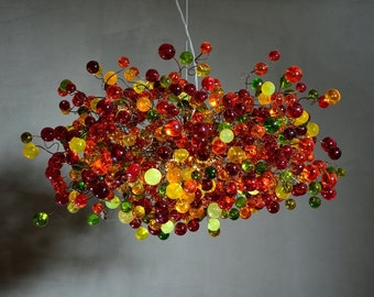 Hanging Chandeliers with warm color bubbles for Decorate living room , dining room or bedroom.