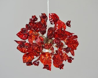 Red Light Fixtures Ceiling lamp with Red flowers and leaves for hall, desk or bathroom, a unique pendant light.