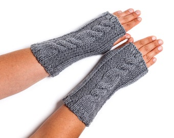 Knitted fingerless gloves, wrist warmers, various colours