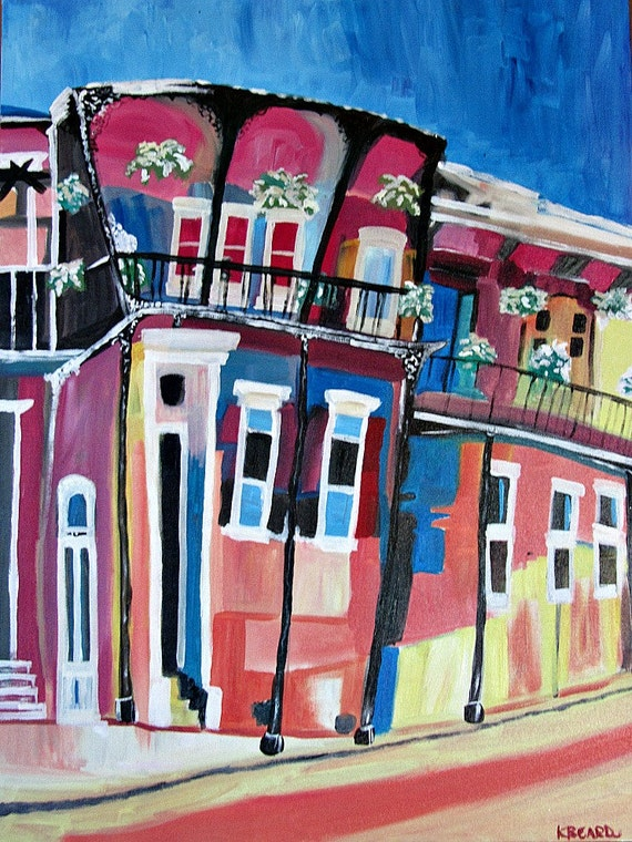 Sunset House Original New Orleans Painting By Redshutterorleans