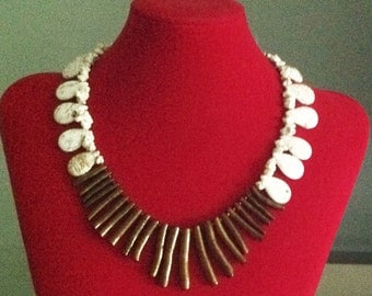 Gold Coral and Howlite Necklace