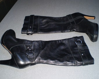 Genuine Black Leather Uppers Boots  Size 7 1/2
