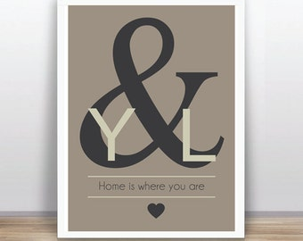 Wedding  Poster Printable -Personalized with your names-  Custom Color Available
