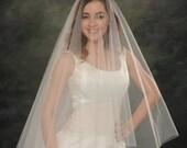 Drop Veil Two Layer Light Ivory Wedding Veil Circular 30 inch Front 42 inch Back Fingertip White Bridal Veil Drape Style