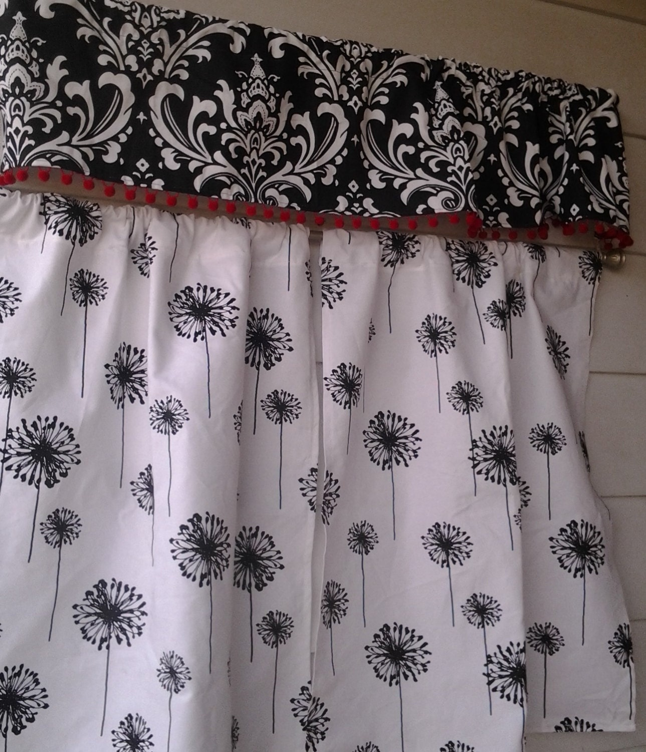 Black On White Dandelion Curtains With Black And White Damask