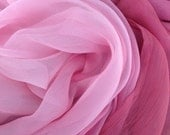 RESERVED - NOT PUBLIC - Crinkle Chiffon Silk Pink Ombré Fabric (by the yard)