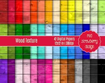 75% OFF Sale - 42 Digital Papers - Wood Texture - Instant Download - JPG 12x12 (DP166)