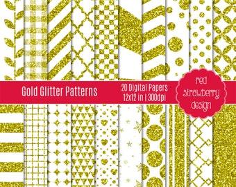 75% OFF Sale - Gold Glitter Patterns - 20 Digital Papers - Instant Download - JPG 12x12 (DP172)