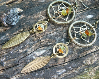 double dreamcatcher earrings Brass tourmaline and Amber boho hipster hippie tribal gypsy style