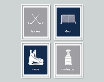 Hockey art - Children's wall art prints - Hockey decor - Sports art prints - Kids wall art - Nursery decor - Boys room art - Childrens art