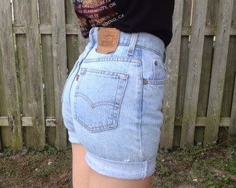 High waisted denim shorts light wash denim shorts by JessieJeans