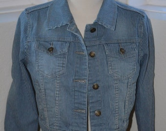 Cropped Denim Blue and White Striped Jacket - Women's S