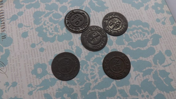 Set of Vintage tin Co-op token from the Royal Arsenal