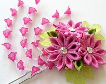 Pink Kanzashi fabric flower hair fork. Pink kanzashi flower hair U pin. Japanese hair fork. Kanzashi hair stick. Oriental hair pin.