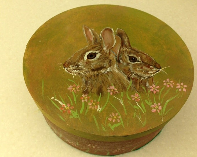 "Bunnie Box - 8"" Diameter Round Wood Box with Lid - Painted in Acrylics for Easter & Spring"