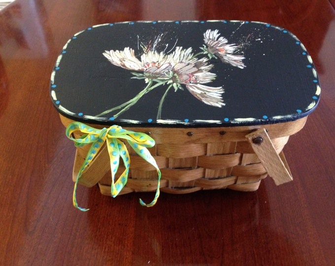 Wood Wicker Basket with Handles and Wooden Hinged Top - Daisies Painted in Acrylics on Top