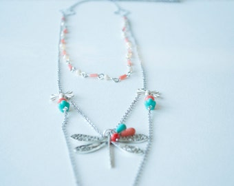 Spring Dragonfly layer necklace