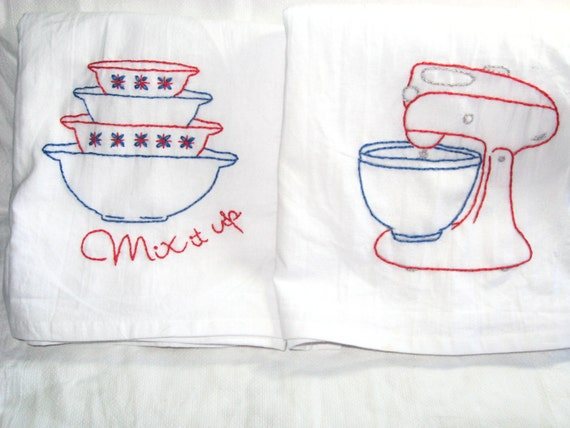 Hand Embroidered Flour Sack Towels Vintage Look Mixer And