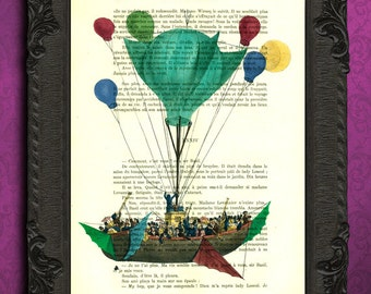 colorful hot air balloon decoration, hot air balloon illustration, victorian airship on book page