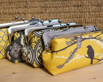 Yellow and Grey Wedding Clutches / Mustard Damask Bridesmaids Clutches / Yellow Bridal Clutch - Set of 7