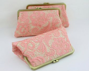 Coral Lace Bridesmaid Clutches / Coral Lace Wedding Clutches / Wedding Gift / Bridal Clutch Set - Set of 4