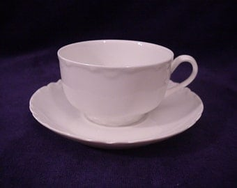 "Haviland RANSON White Cup & Saucer 2"" by 3 1/2"""