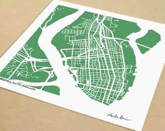 Charleston Map, Hand-Drawn City Print of Charleston South Carolina