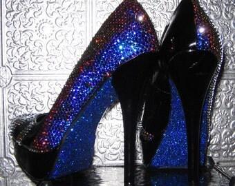 black platform heels with genuine swarovski crystals