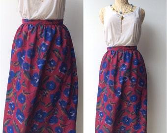 Vintage High Waisted Floral Skirt / mid length Spring Secretary cut / small to medium 26 inch waist