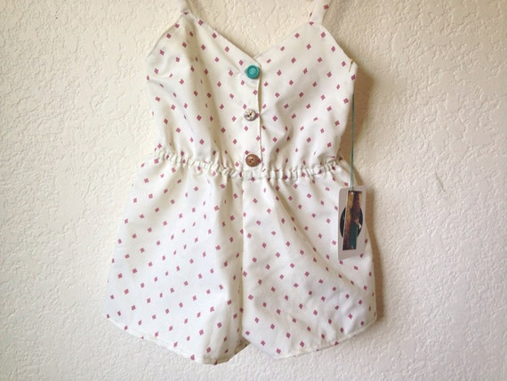 Sale!!! Girls Romper/Vintage/Handmade/Jumpsuit White Cotton with Diamonds