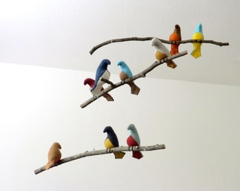 Bird Mobile - Modern Multicolor Fabric Birds on natural tree branches - Made to order