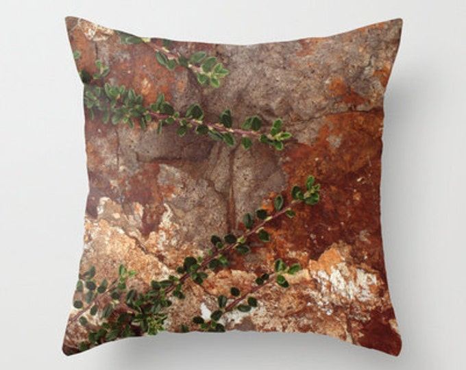 Brown Throw Pillow Cover - Cover Only - Rocks and Leaves Photograph - Rustic - Made to Order