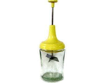 Vintage Kitchen, Acme Food Chopper, Pastel Yellow Plastic and Glass, Retro Kitchen, Kitchen Utensil-Nut Chopper-Houseware-Measuring Cup-