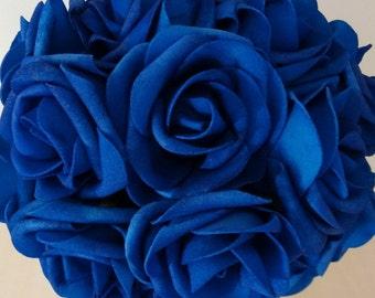 20 PCS Royal Blue Wedding Flowers Artificial Flower Foam Roses For Bridal Bouquet Centerpiece