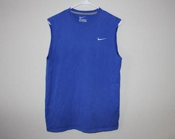 blue cutoff sleeve nike top