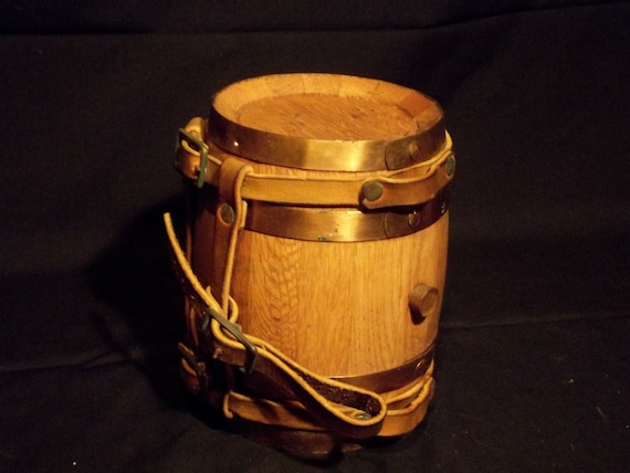 St. Bernard Miniature Whiskey Barrel With Leather Harness For