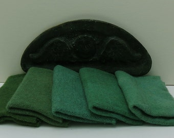 Leaf Green Hand Dyed Wool Bundle for Rug Hooking and Applique
