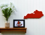 """Louisville Cardinals  """"State Heart"""" wall art, handcrafted wood with official team colors"""