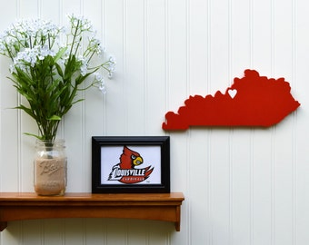 "Louisville Cardinals  ""State Heart"" wall art, handcrafted wood with official team colors"