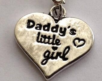 1  Daddys little girl charm heart pendant dangle