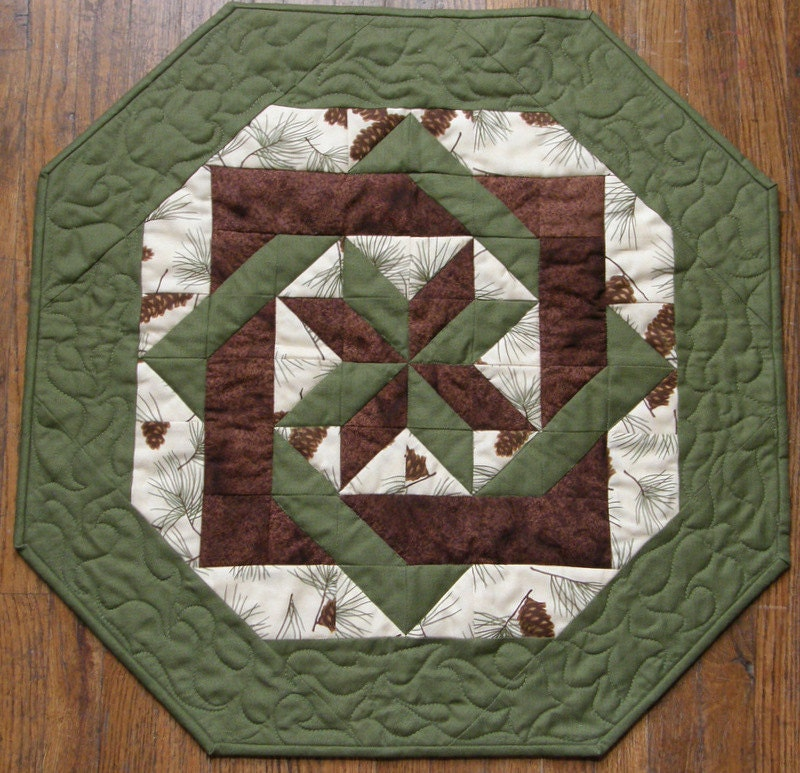 Fall Quilted Table Topper Brown Green Pine Cones Quilt Earth