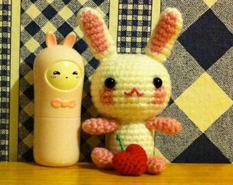 Crochet Amigurumi Kawaii Christmas Plushie Cherry Bunny and Her Toy Cherry