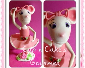 Items similar to angelina ballerina thank you card on etsy for Angelina ballerina edible cake topper decoration sale