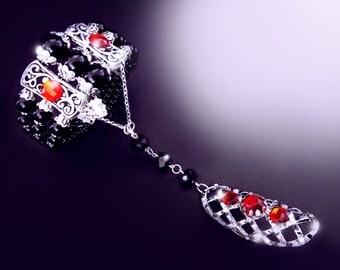 Slave bracelet, armor ring, black and red bracelet, tibetan style hand bracelet, boho jewelry, onyx bracelet, gothic bracelet, OOAK