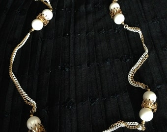 "Vintage Two Color Chain Necklace with White Beads (32"" long)"