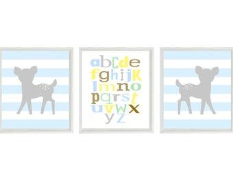 Deer Nursery Art - Alphabet Print - Gray Blue Stripes Decor - Fawn Baby Deer - Baby Boy Nursery - Wall Art Home Decor