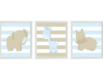 Nursery Art - Elephant Giraffe Hippo Safari Wall Art - Tan Baby Blue Stripes Print,  Baby Boy Children Kid Room Home Decor Wall Art